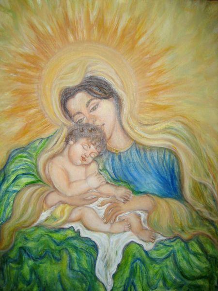 L'amore di Maria: Gesù - Olio su tela 45x70